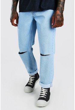 Light blue Skater Fit Ripped Knee Denim Jeans