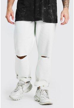 Ecru Skater Fit Ripped Knee Denim Jeans