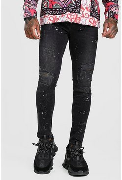 Washed black Skinny Ripped Jeans With Glitter Spray