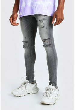 Washed black Super Skinny Multi Rip Jeans