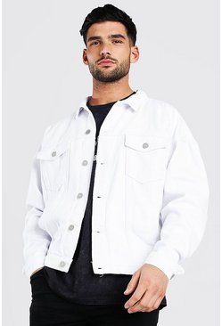 White Oversized Denim Jacket With Abrasions
