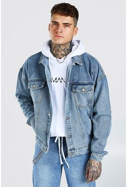 Mid blue Oversized Denim Jacket With Abrasions