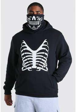 Black Plus Size Skeleton Print Snood Hoodie