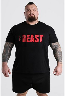 Black MAN BEAST Printed T-Shirt