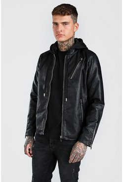 Black Leather Look Biker Jacket With Jersey Hood
