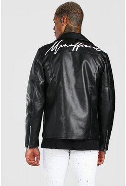 Black Man Official Script Leather Look Biker Jacket