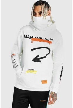White MAN Official Graffiti Snood Hoodie