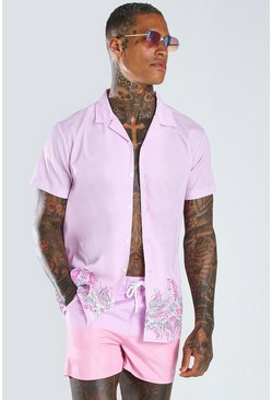 Pink Short Sleeve Revere Collar Border Print Shirt