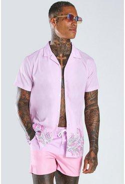Pink Short Sleeve Revere Collar Border Print Shirt