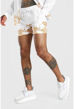 White Baroque Print Border Print Shorts