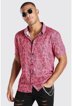Coral Short Sleeve Revere Collar Paisley Print Shirt