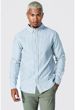 Khaki Oxford Stripe Ls Regular Shirt