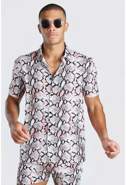 Pink Short Sleeve Regular Collar Snake Print Shirt
