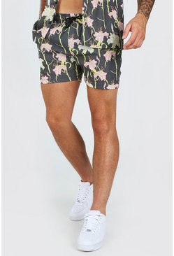 Khaki Floral Print Short