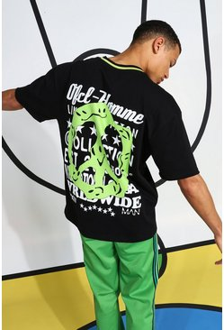 Black Tall T-shirt With Neon Back Print