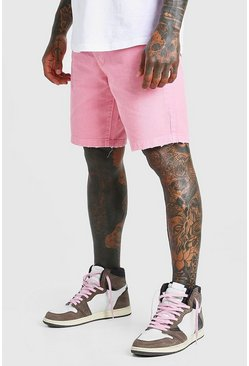 Pink Loose Fit Destroyed Hem Jean Shorts