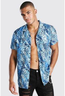 Blue Short Sleeve Revere Collar Animal Print Shirt
