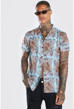 Tan Short Sleeve Revere Collar Animal Print Shirt