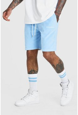 Light blue Official MAN Velour Mid Length Short