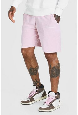 Light pink Official MAN Velour Mid Length Short
