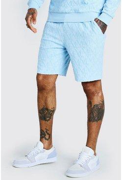 Powder blue Velour Manogram Mid Length Short