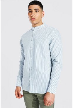 Khaki Oxford Stripe Grandad Collar Ls Regular Shirt