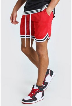 Red Airtex Basketball Shorts With Tape