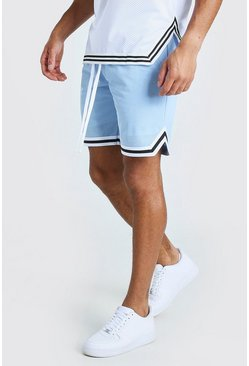 Powder blue Airtex Basketball Shorts With Tape
