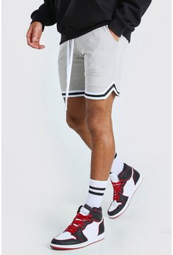 Stone Airtex Basketball Shorts With Tape
