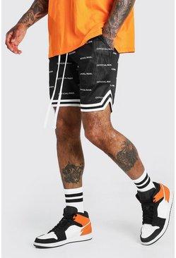 Black MAN Official All Over Print Airtex Shorts