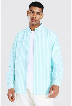 Mint Oxford Stripe Ls Oversized Shirt
