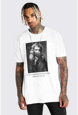 Oversized Newton Meme T-Shirt, White