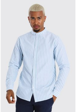 Blue Oxford Stripe Grandad Collar Ls Regular Shirt