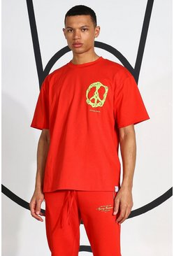 Red Tall Neon Peace Sign T-shirt