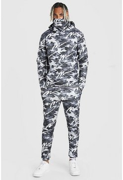 Dark grey All Over MAN Camo Snood Tracksuit