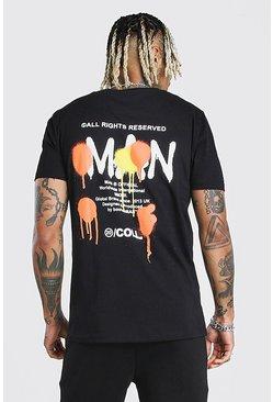 Black MAN Graffiti Back Print T-Shirt & Short Set