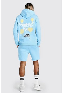 Powder blue MAN Graffiti Back Print Short Tracksuit
