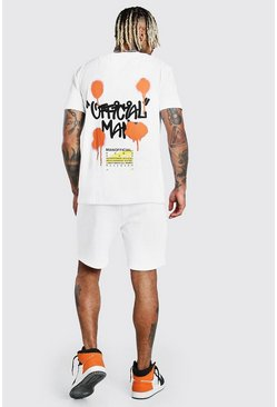 White MAN Graffiti Back Print T-Shirt & Short Set