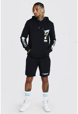 Black MAN Official Graffiti Short Tracksuit