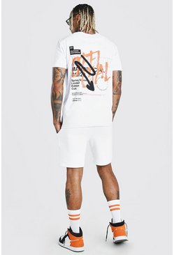 Ensemble t-shirt et short imprimé graffiti MAN Official, Blanc