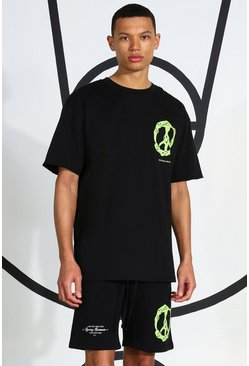 Black Tall Neon Peace Sign T-shirt