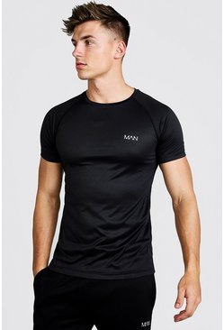 MAN Active Raglan-T-Shirt, Schwarz