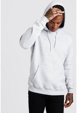 Grey marl Basic Over The Head Fleece Hoodie