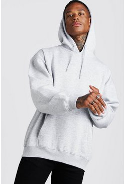 Grey marl Basic Oversized Over The Head Fleece Hoodie