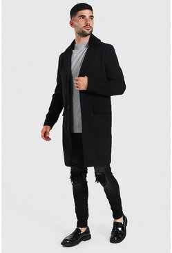 Black Smart Faux Fur Back Collar Single Breasted Overcoat