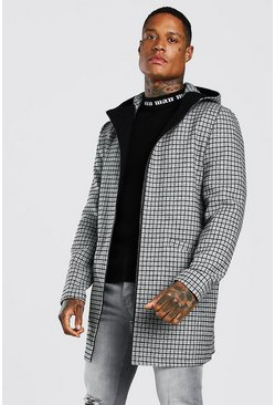 Grey Grid Check Hooded Overcoat