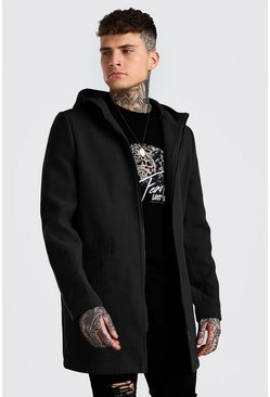 Black Zip Through Hooded Overcoat
