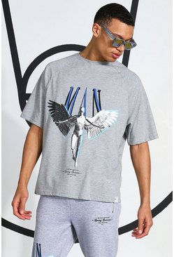 Grey marl Tall Eagle Printed T-shirt