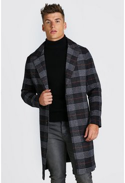 Charcoal Big Check Single Breasted Overcoat