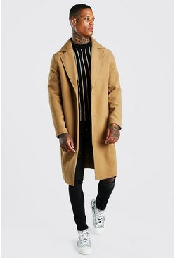 Camel Drop Shoulder Single Breasted Longline Overcoat
